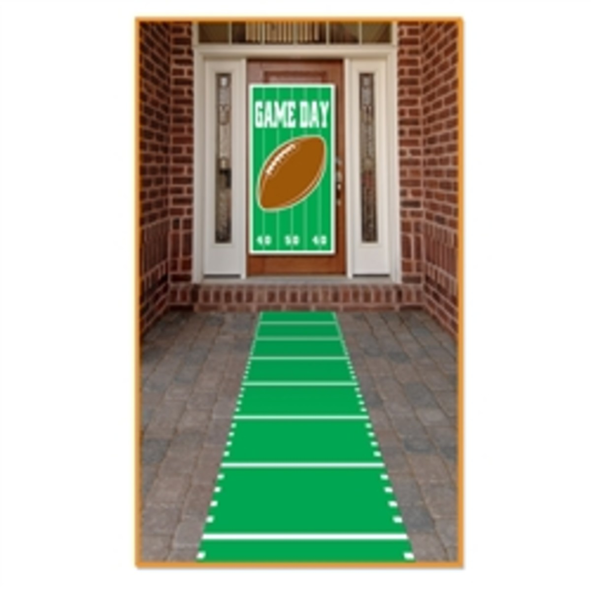 football theme decorations at the front door in bright field green and white yard markings