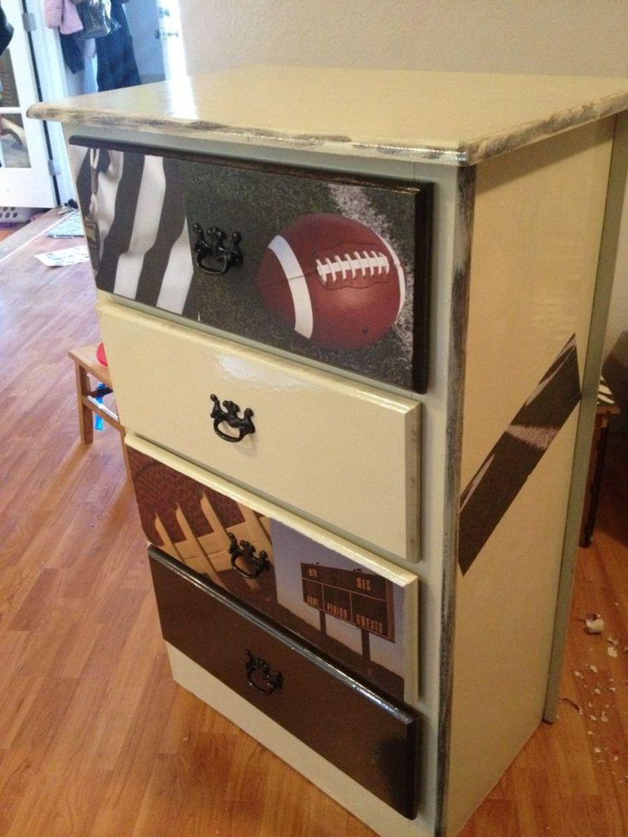 hand painted football themed dresser