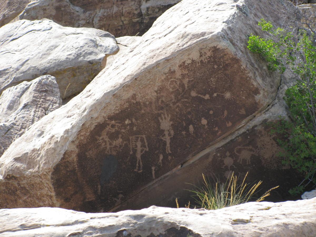 Petroglyphs all over the rocks near Painted Desert Arizona.