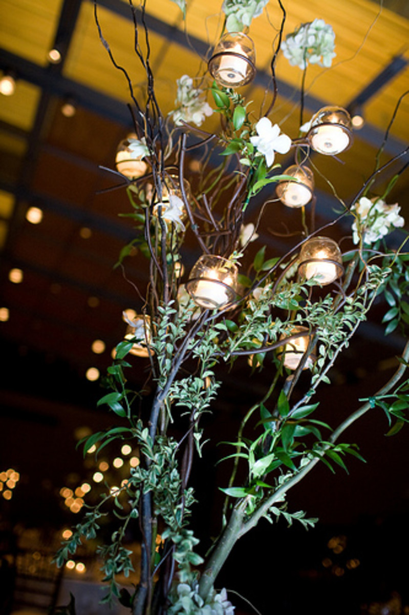 Romantic centerpieces set the mood for the reception.