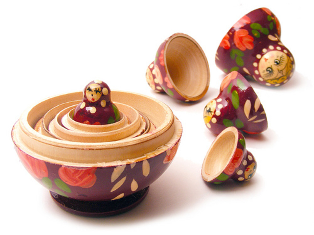 Traditional Russian doll set, also called the Matryoshka dolls. The culinary version is one of birds-inside-of-birds.