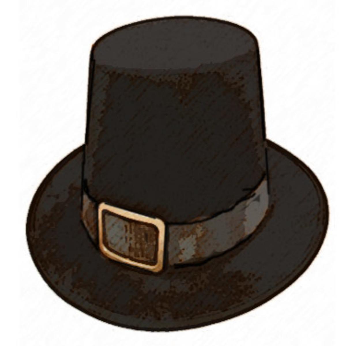 Drawing of the basic American Pilgrim's Hat