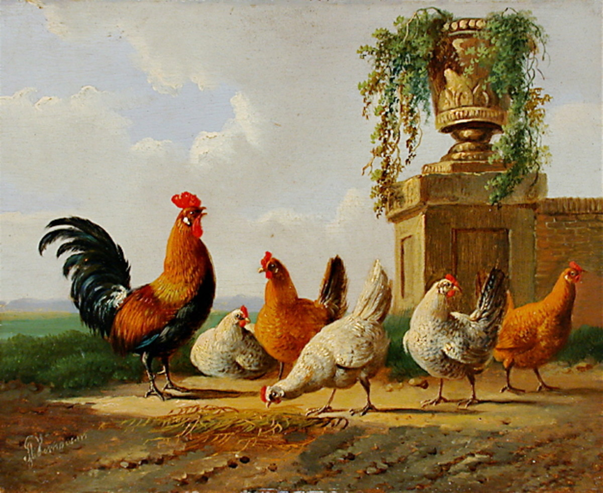Chickens and a park vase