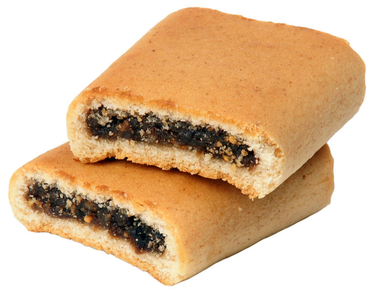 Two Nabisco-brand Fig Newtons stacked on each other.
