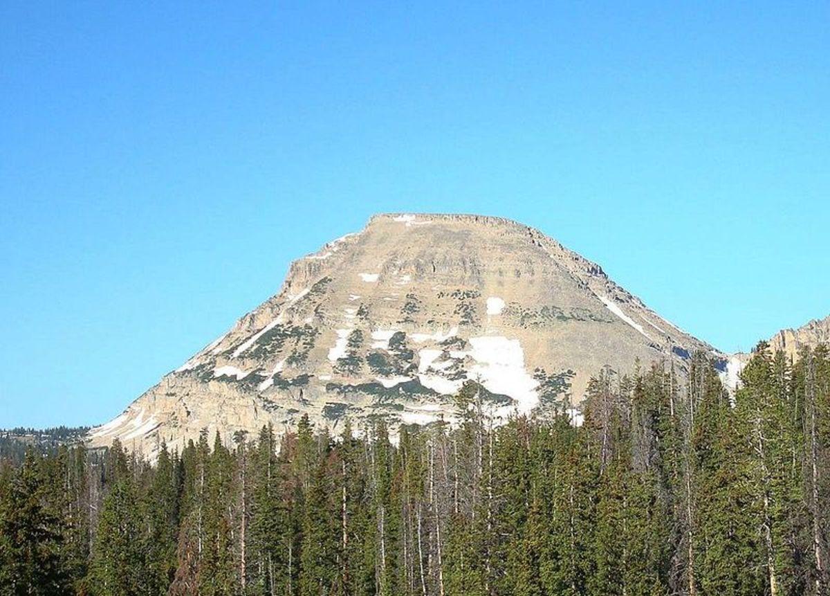 """The east face of en:Bald Mountain (Utah) in the en""""Uinta Mountains of Utah."""