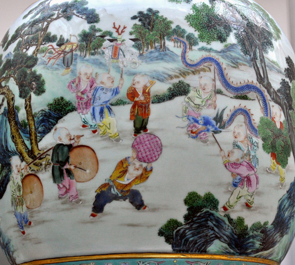 Vase with 100 children playing; made in Jingdezhen, c. 1770–1795; porcelain decorated in polychrome overglaze enamels