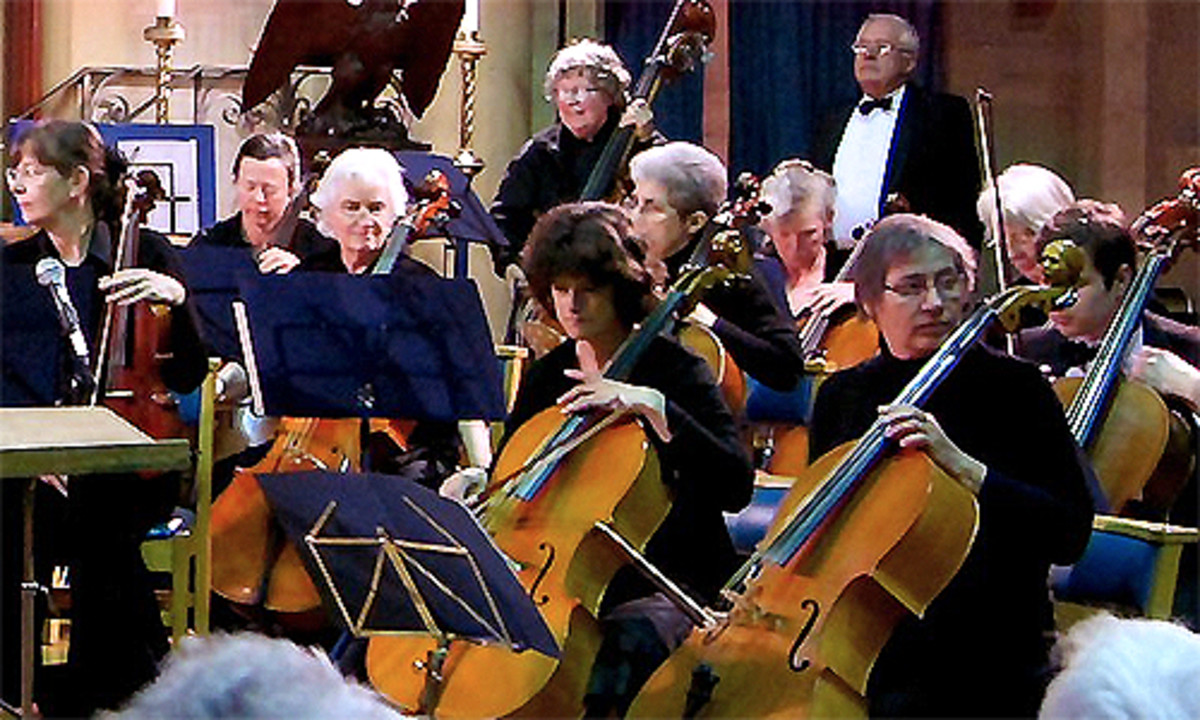 A digital photograph of the Hereford String Orchestra playing at their Spring Concert on the 27th March 2010 in the Holy Trinity Church in Hereford, UK.