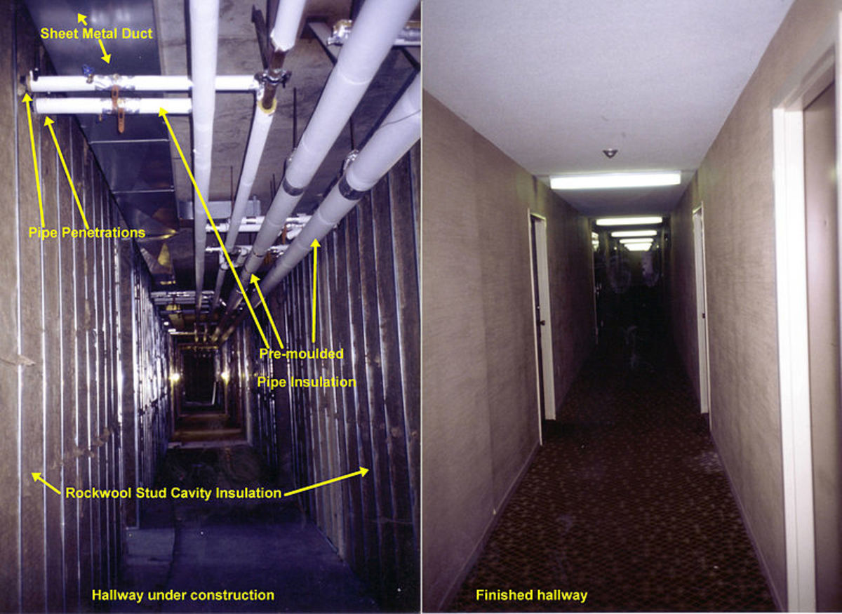 Common building isulations inside an apartment building in Mississauga, Ontario, Canada