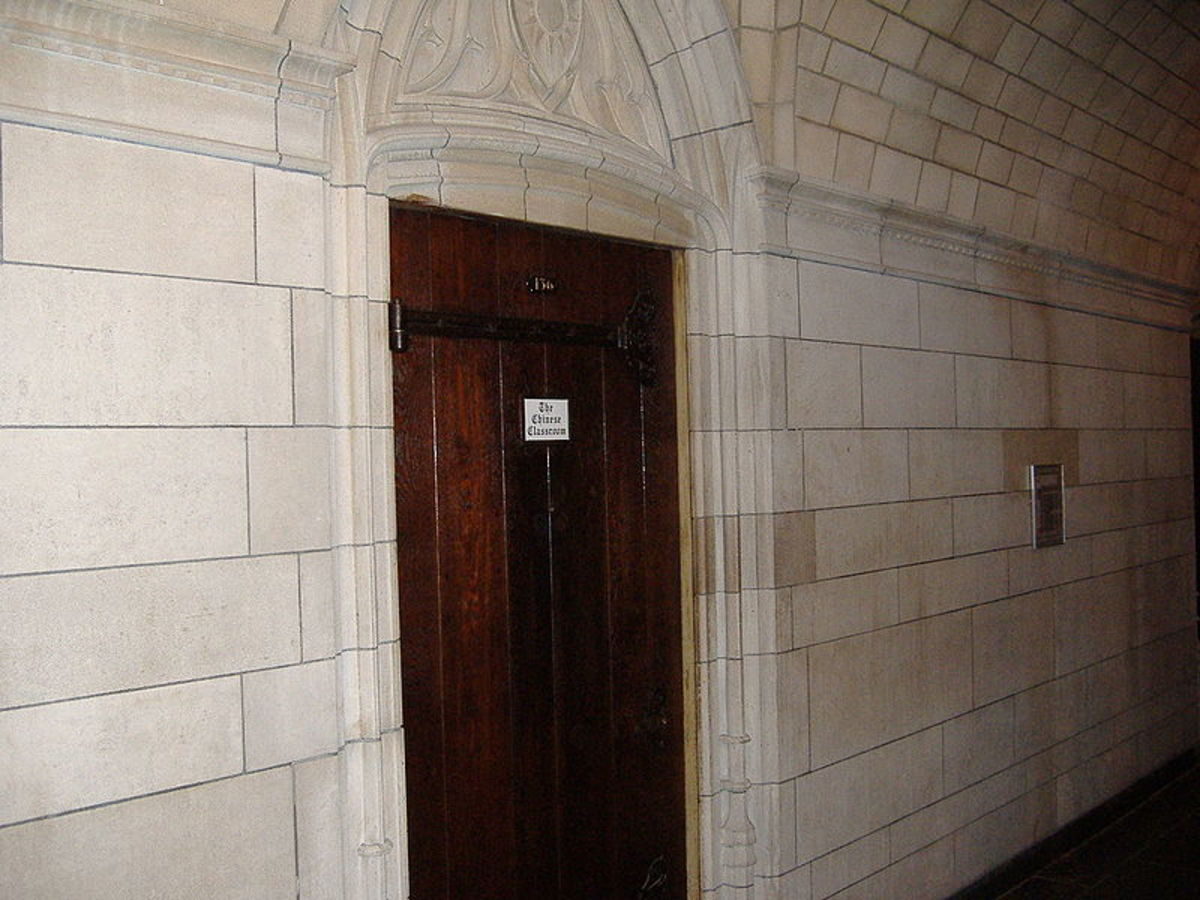 Classroom door inside the Cathedral of Learning