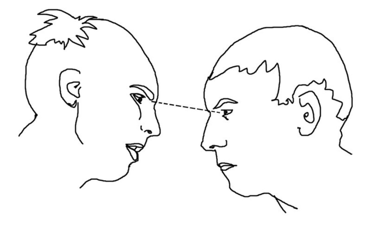 """Illustration depicting two people facing each other, engaging in a typical """"staring contest."""""""