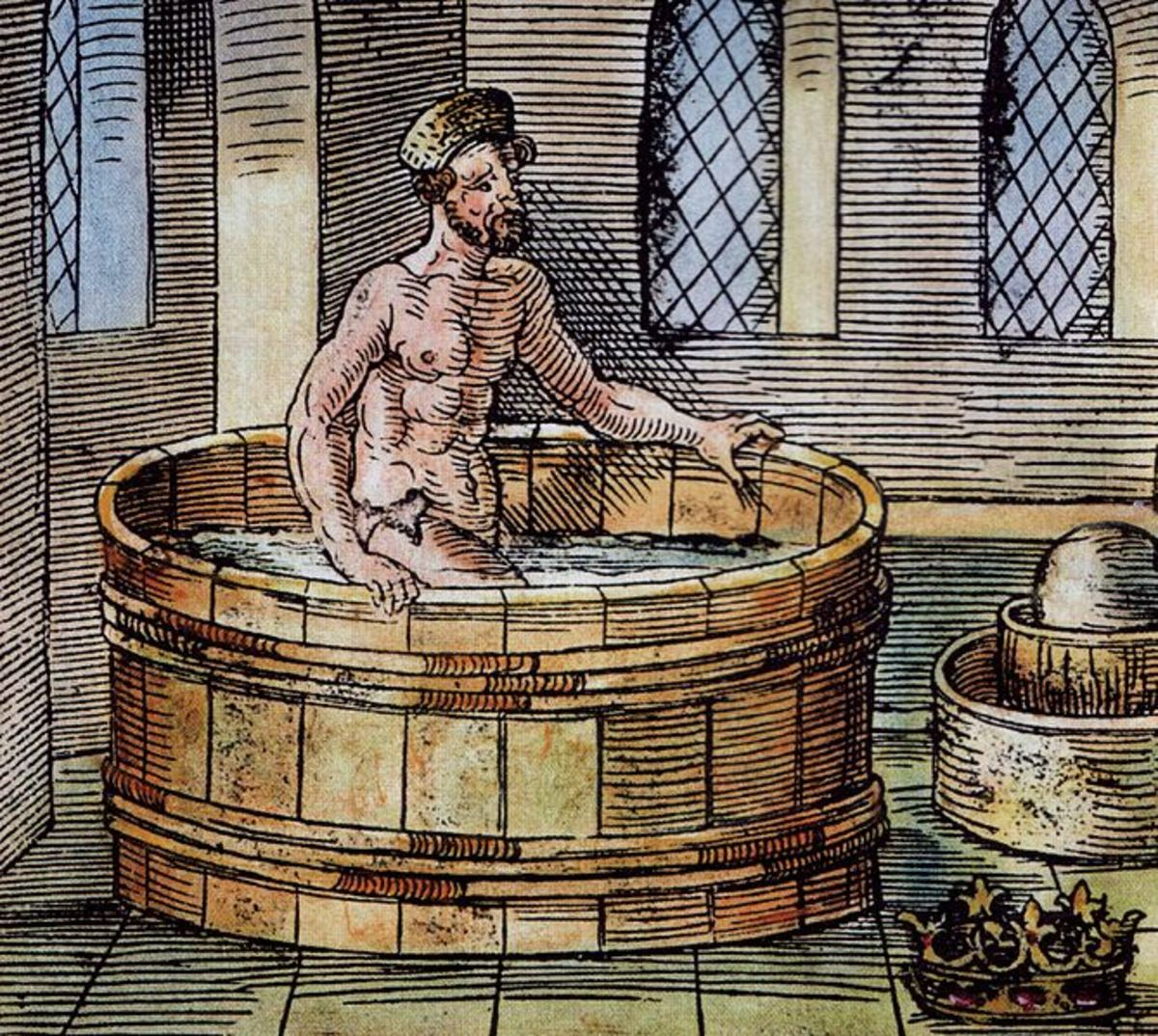 Greek philosopher Archimedes in his bath - 16th Century carving.