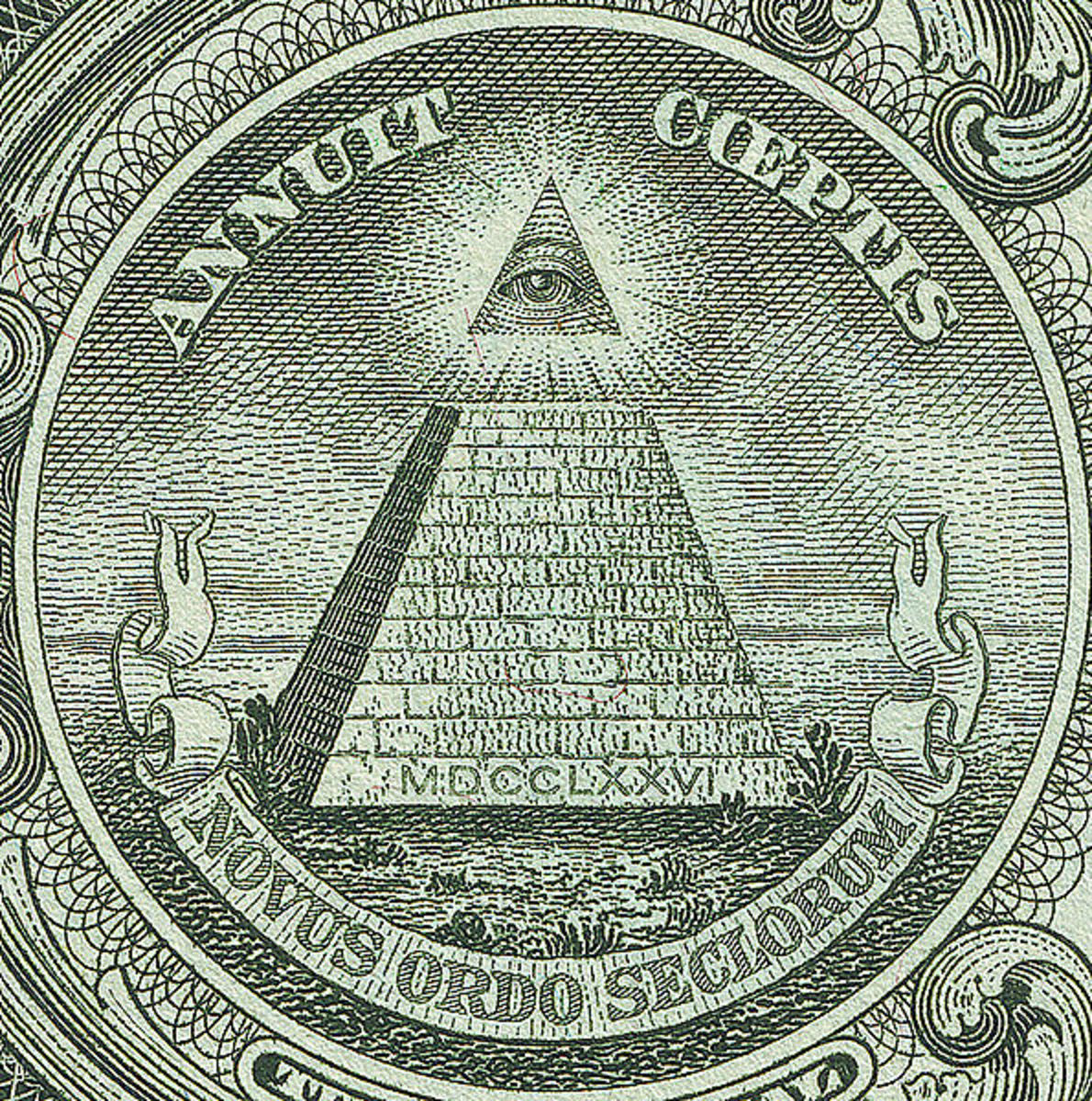 Pyramid with the all-seeing eye on the back side of the US 1-Dollar bill