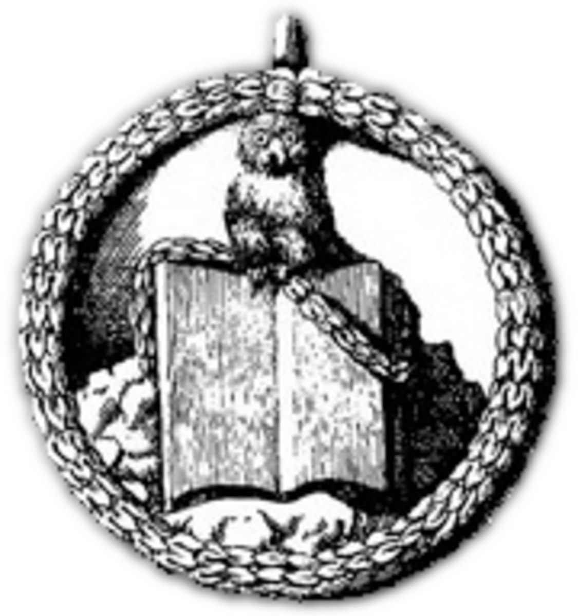 This is the original insignia of the Bavarian Illuminati. It pictures the owl of Minerva - symbolising wisdom - on top of an opened book. This version of the owl comes from an early pamphlet, printed around 1776.