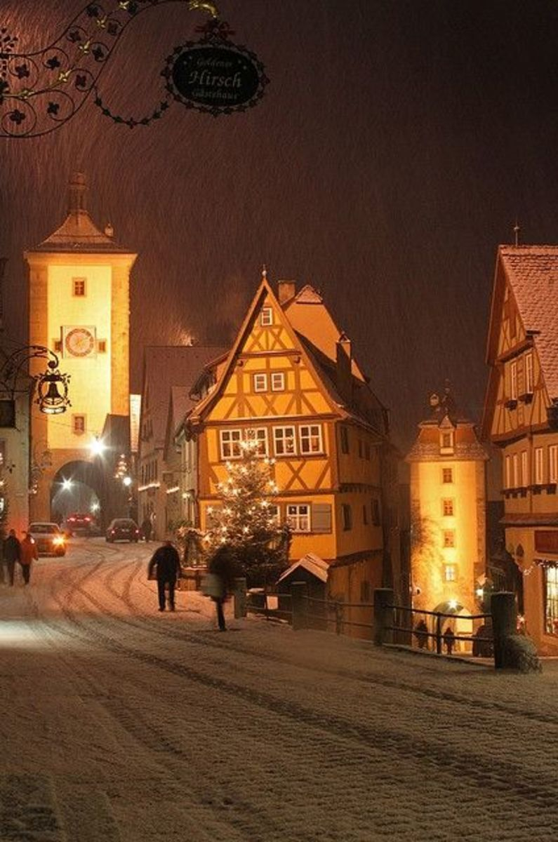 Rothenburg, Germany snowfall at night