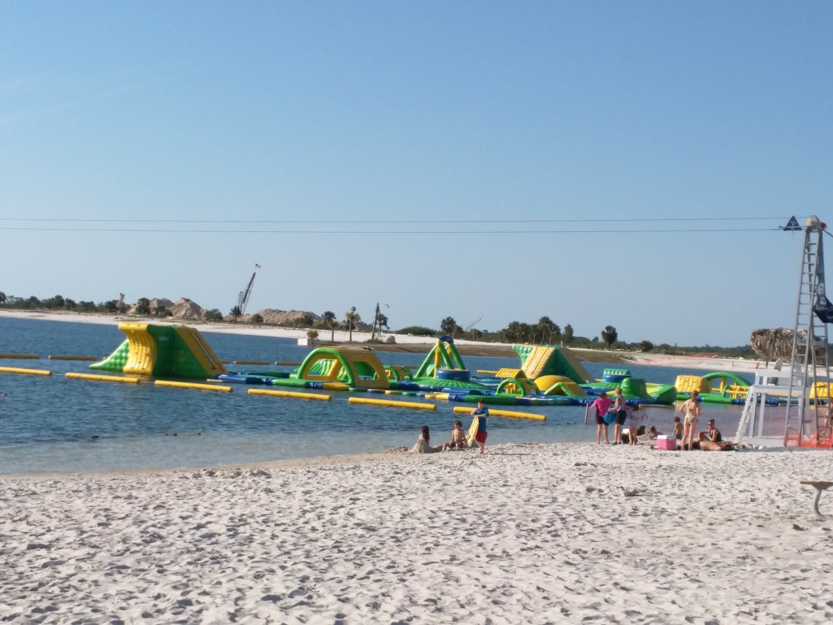 Floating Inflatable Playground, More Beachfront and Volleyball Courts