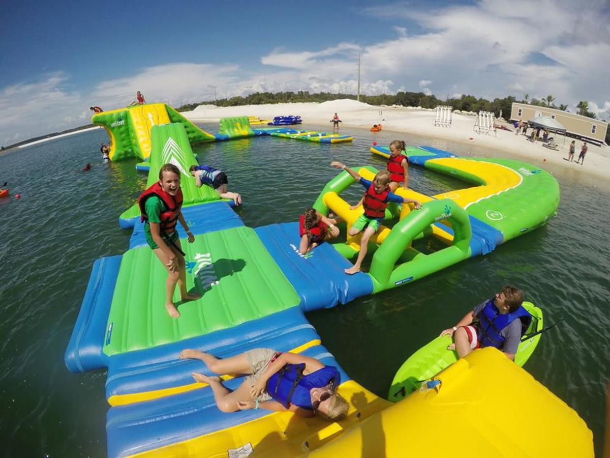 The inflatable, on water AquaPark at SunWest Park