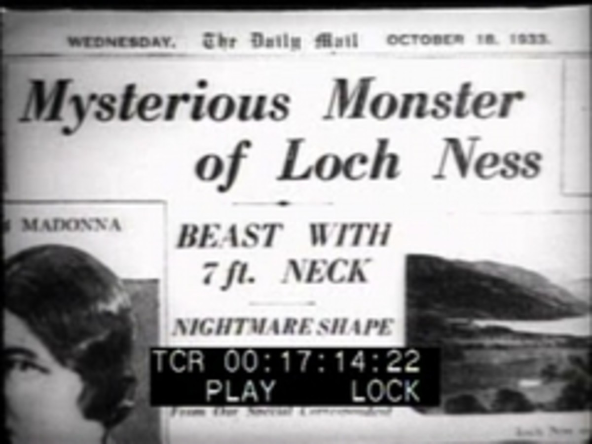 An old newspaper declaring a monster in the Loch