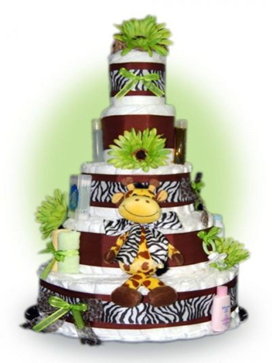 5 Tier Safari Jungle Diaper Cake