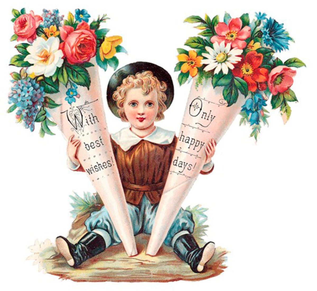 Inspired by flowers, the Victorians loved to make tussie-mussies, in this case using paper bouquet holders.