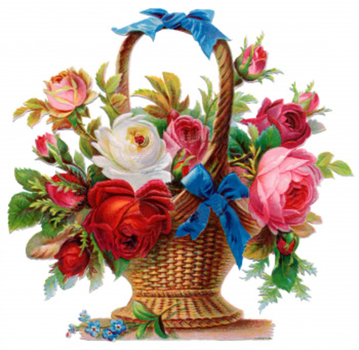A Victorian-style basket of roses, symbolising love in all its forms.
