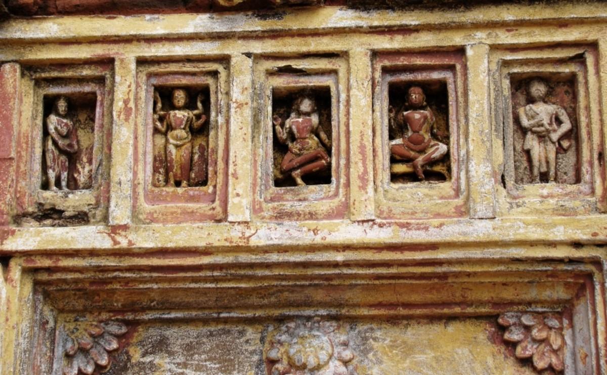 Terracotta panel on the facade of Jora Shiva Temple at Ukhra Durgabaari 1