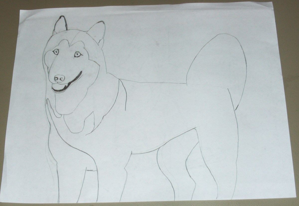Here I sketched out my dog.  Yes the paper is used and crumbled, but all of these lines can be smoothed out.  Also, the crumbling was much less noticeable once the picture was completed and in the frame.