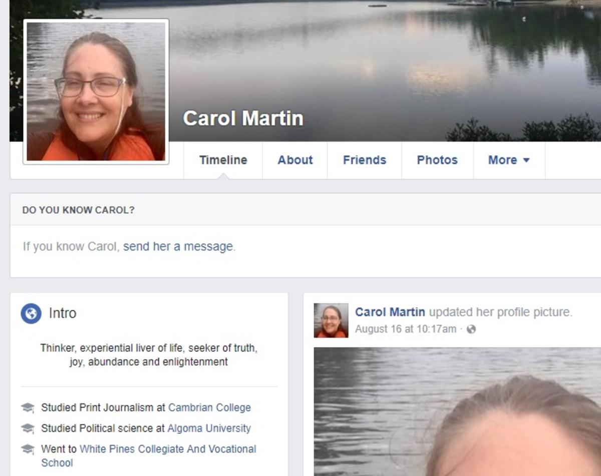 Carol Martin's Facebook page