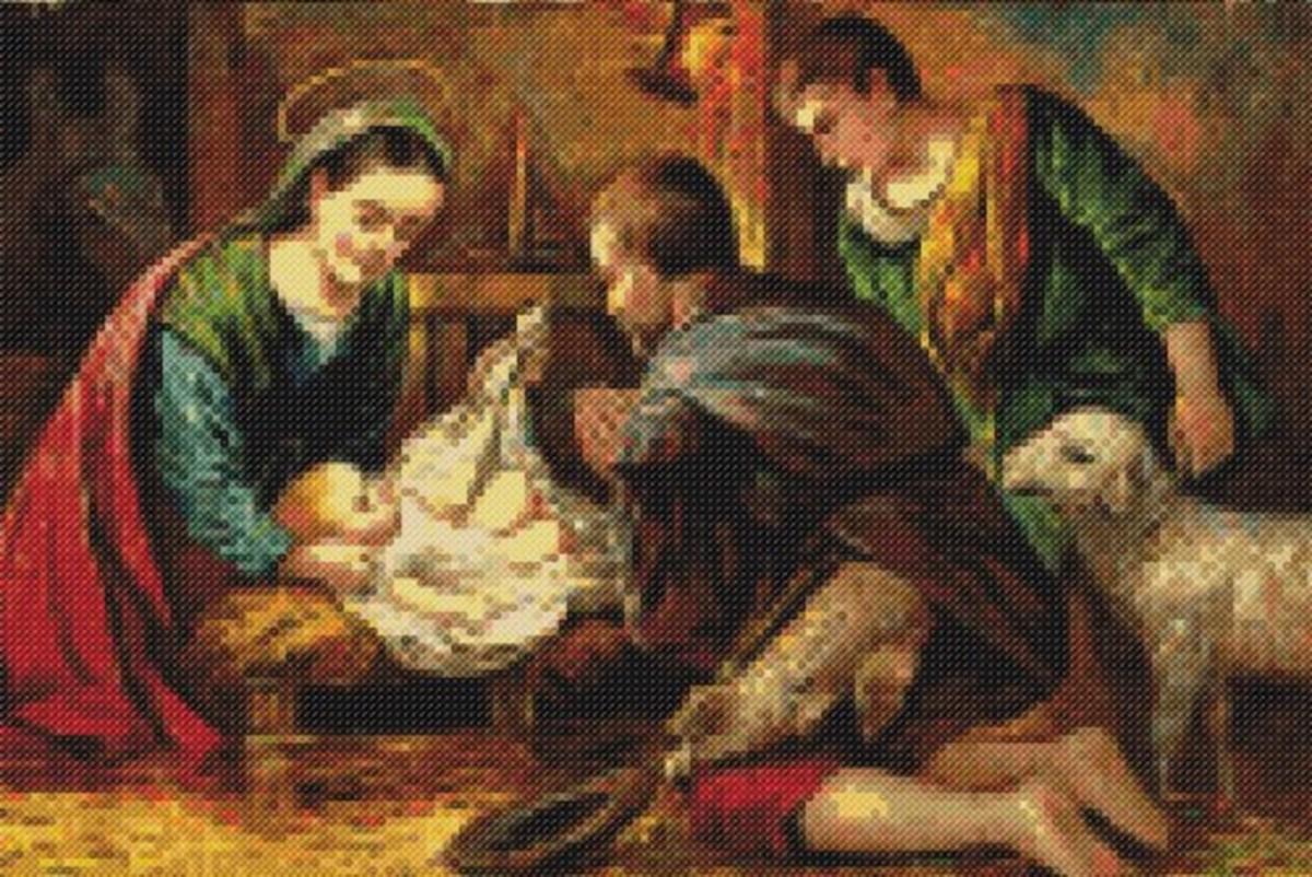 Cross stitch nativity craft