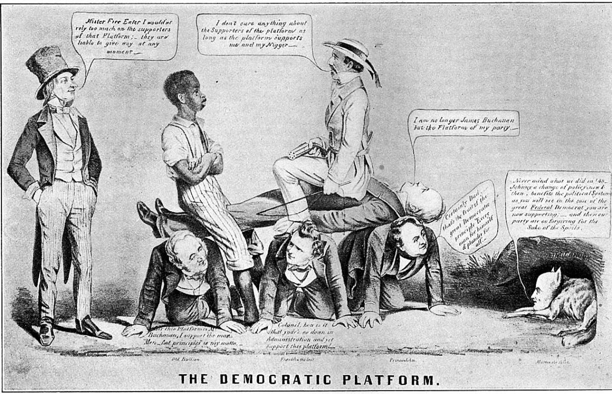 Democratic Platform from 1856 - an anti-Buchanan editorial cartoon.