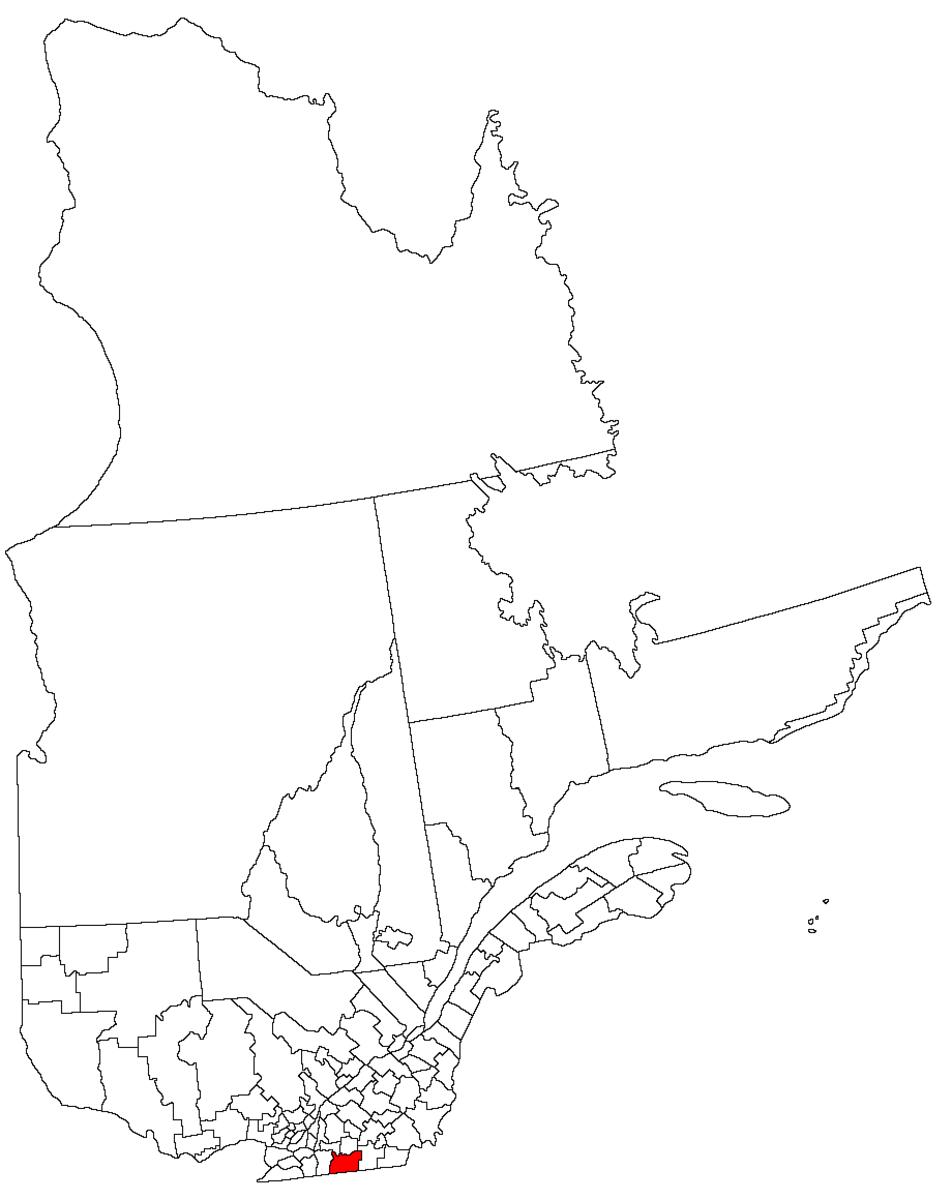 Map location of Brome-Missisquoi region, Quebec