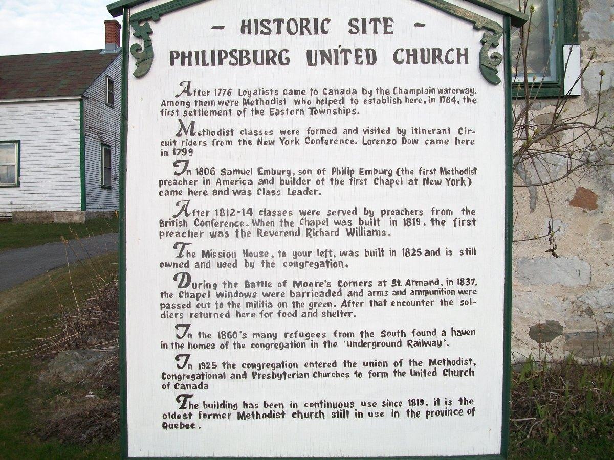 Historical plaque, United Church, Philipsburg