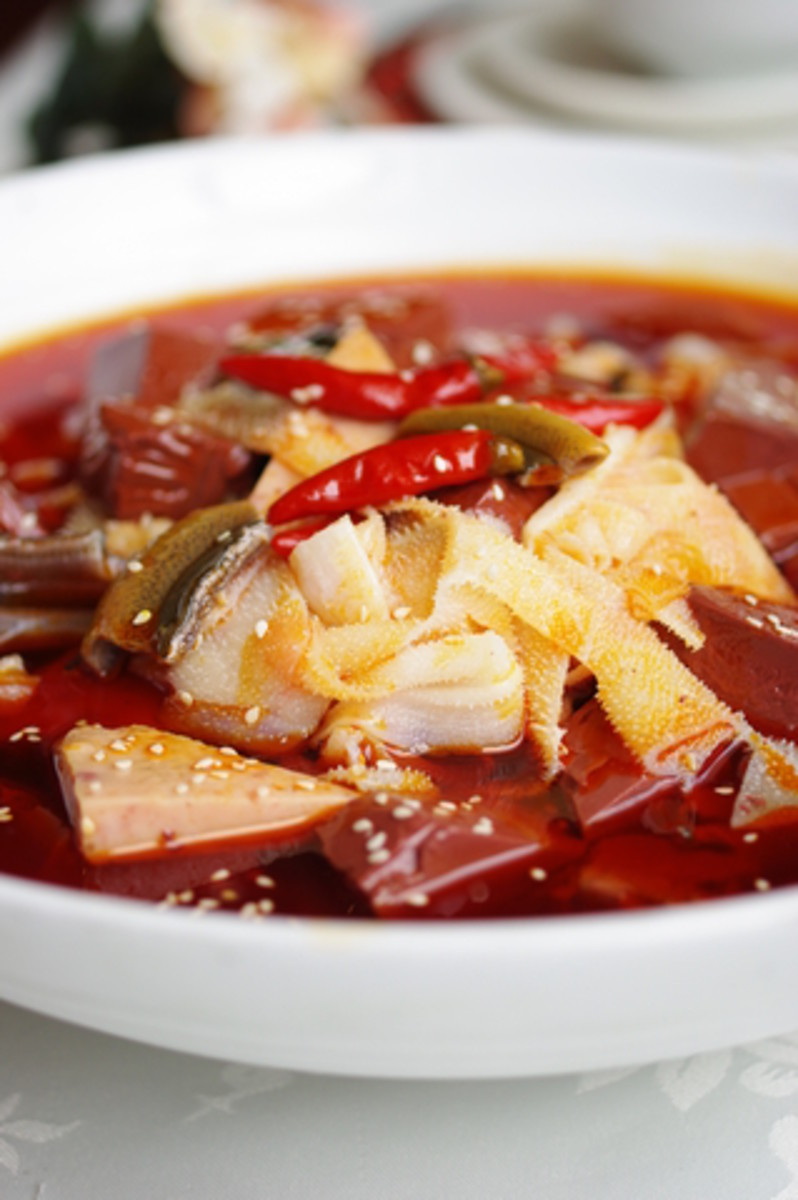"""Spicy Chinese Tripe dish - note the finer texture of the """"bible"""" tripe used in this dish. Image: © Qidong Cai 