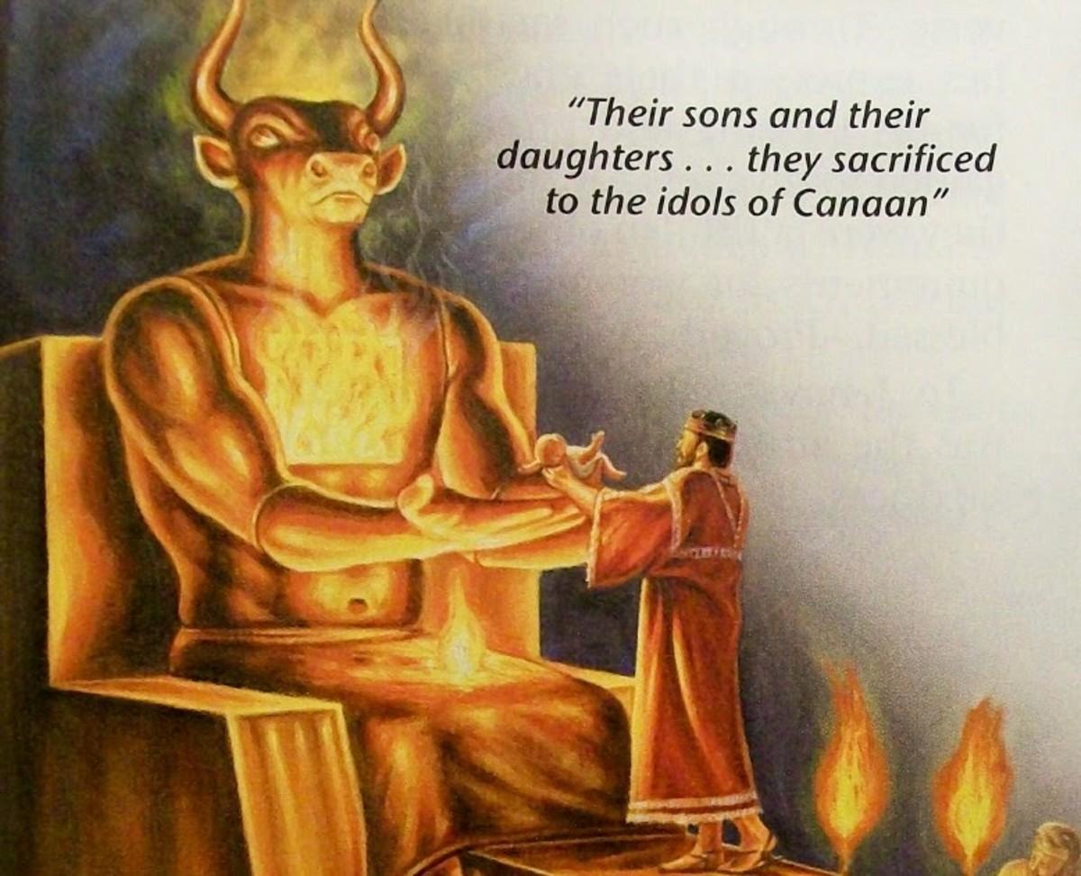 Sacrificing a son to their god.