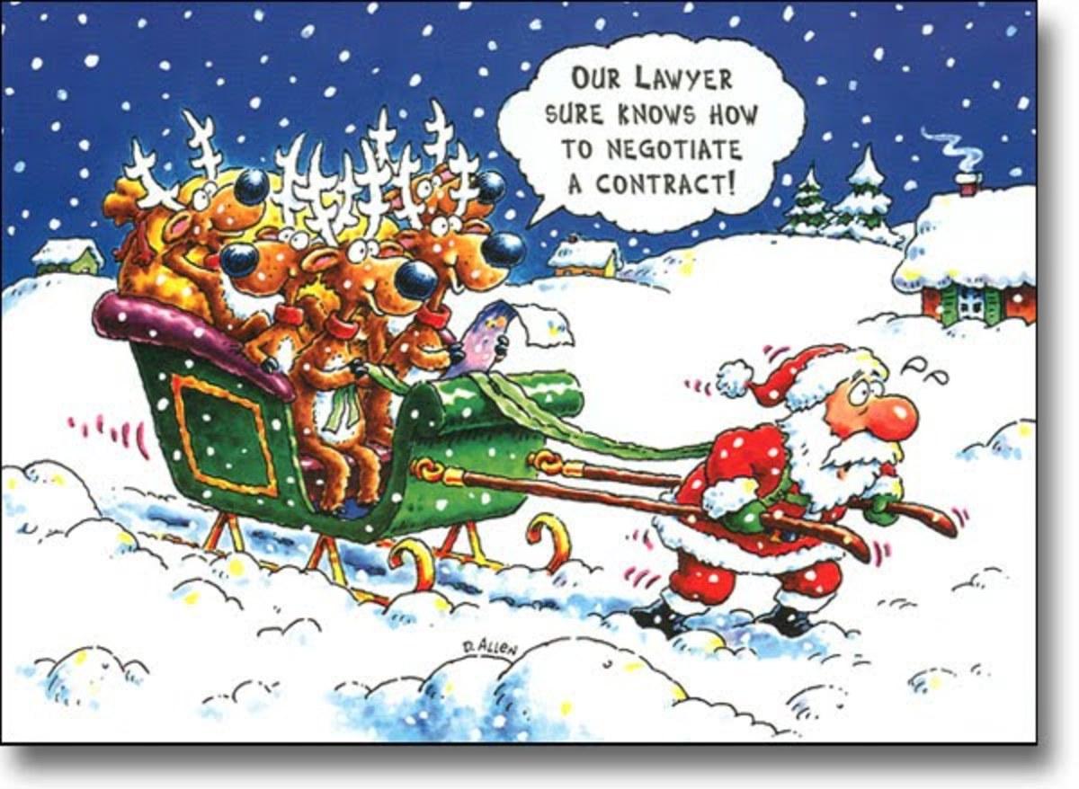 Santa Pulling Sleigh Humor