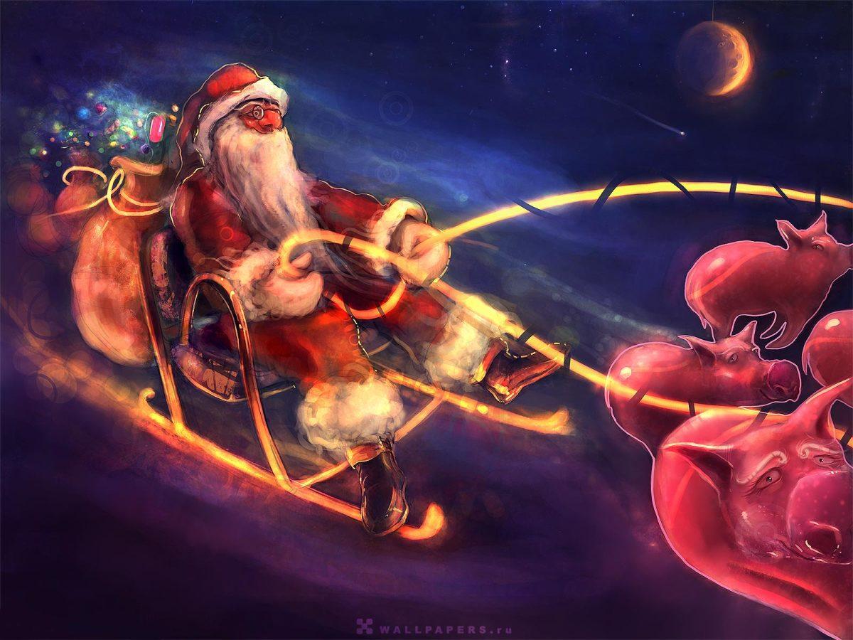 Pigs Pulling Santa's Sleigh