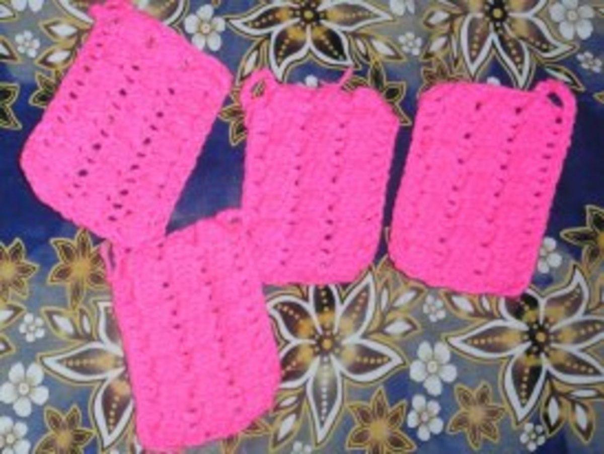 Crocheted scrubbies for 6B Alvarez St.