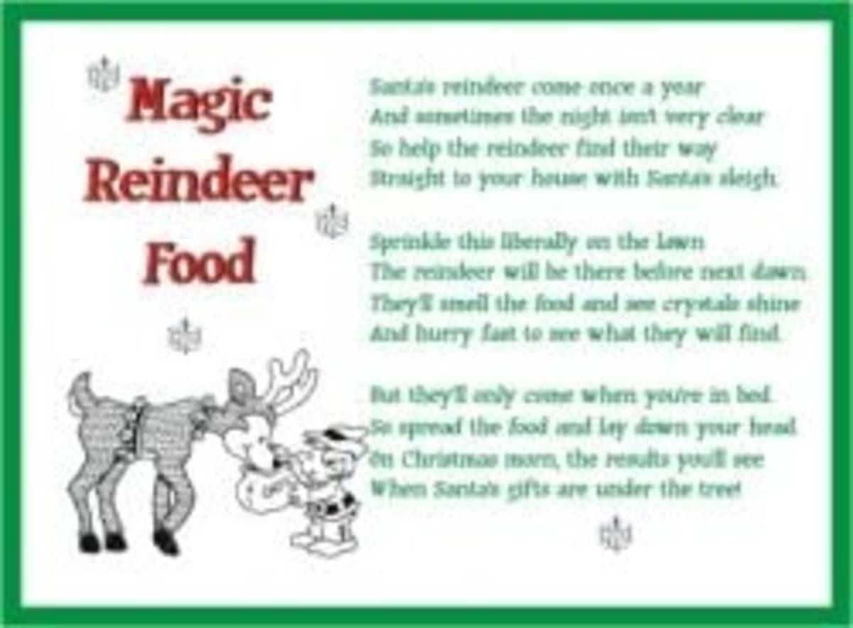 Printable Magic Reindeer Food Poems