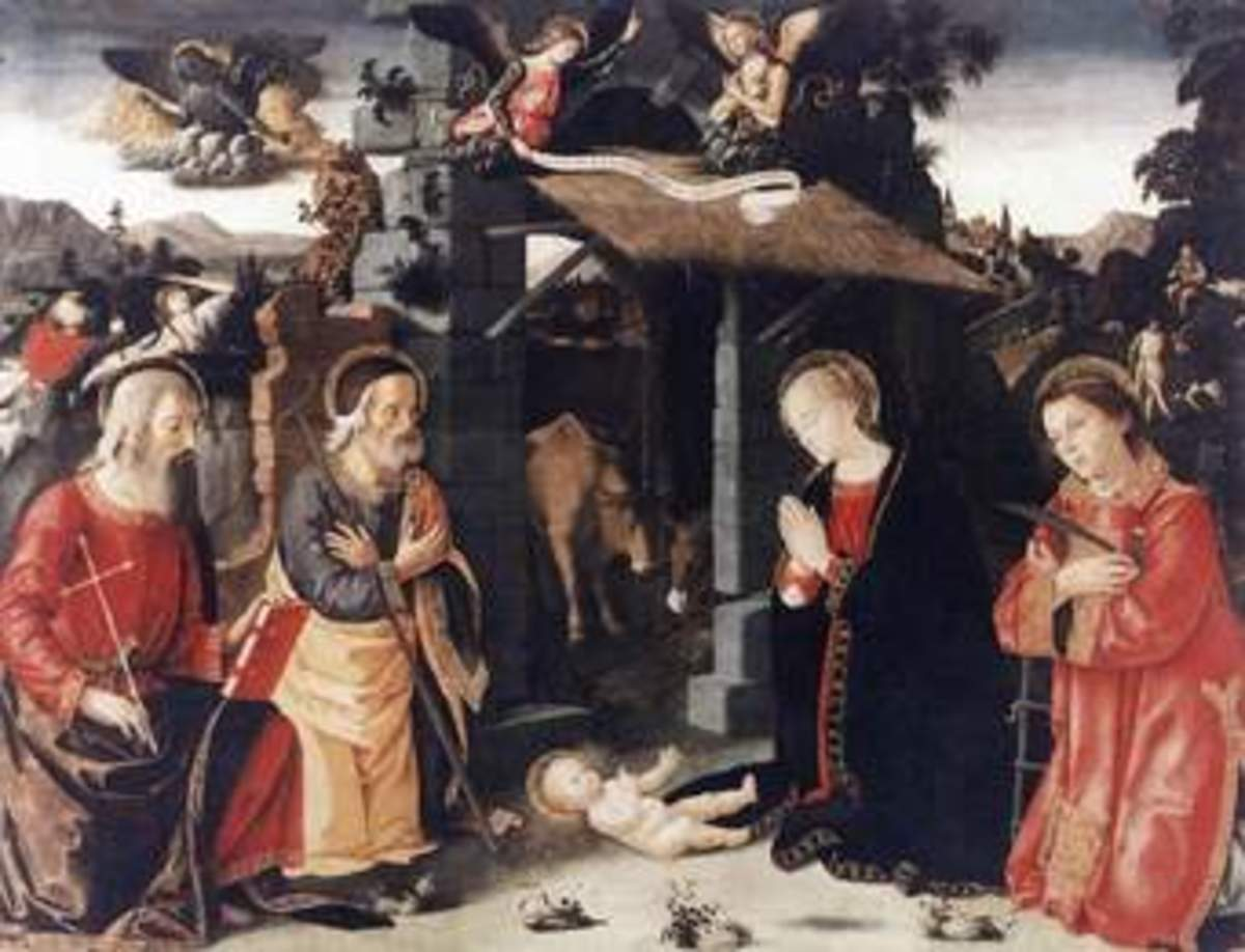 This photos shows us an imaginary and old religious nativity scene, with Mary Joseph and other saints attending baby Jesus, there are also some angels above to show the importance of this religious event.