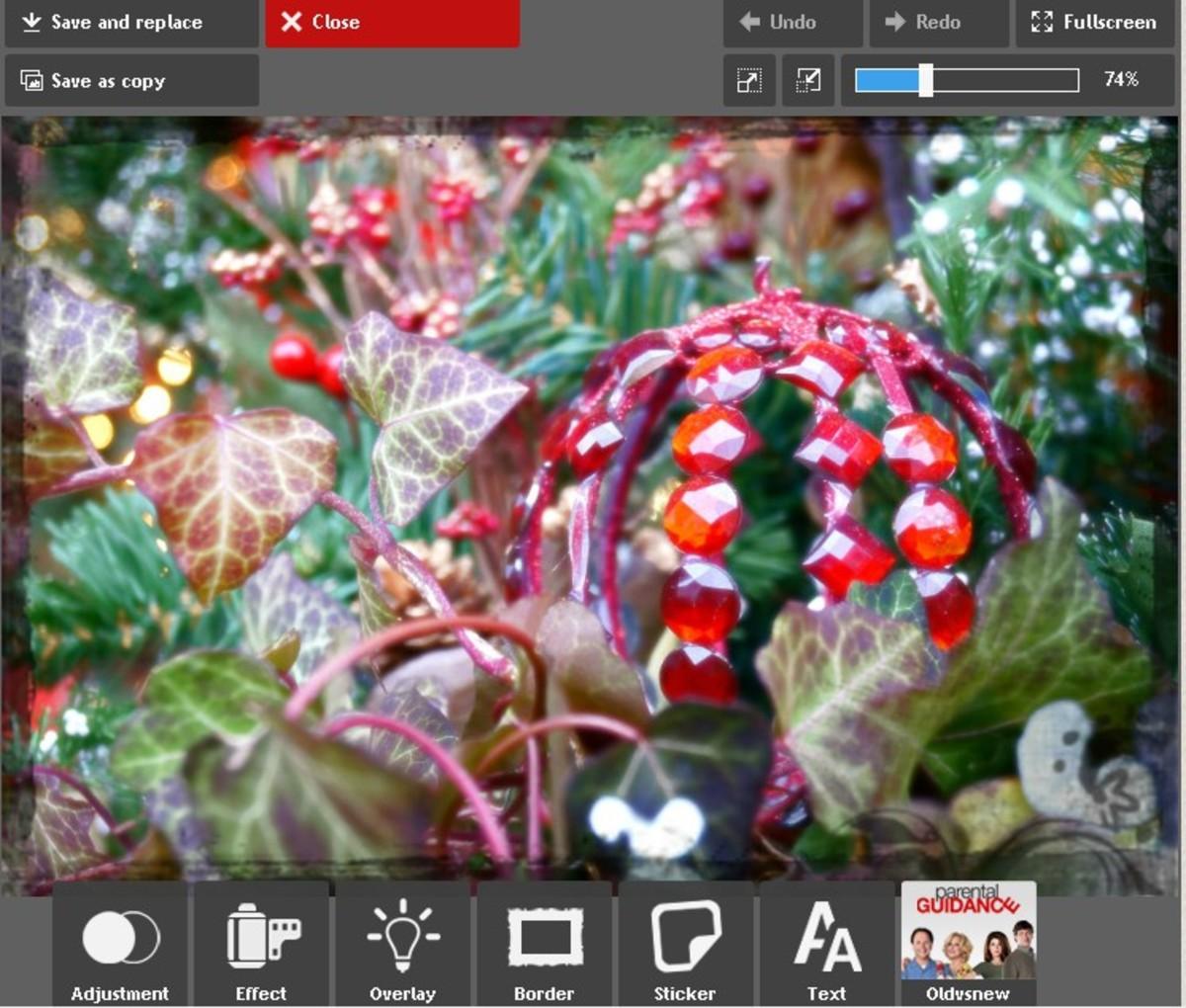 Screenshot of Photobucket's tools.
