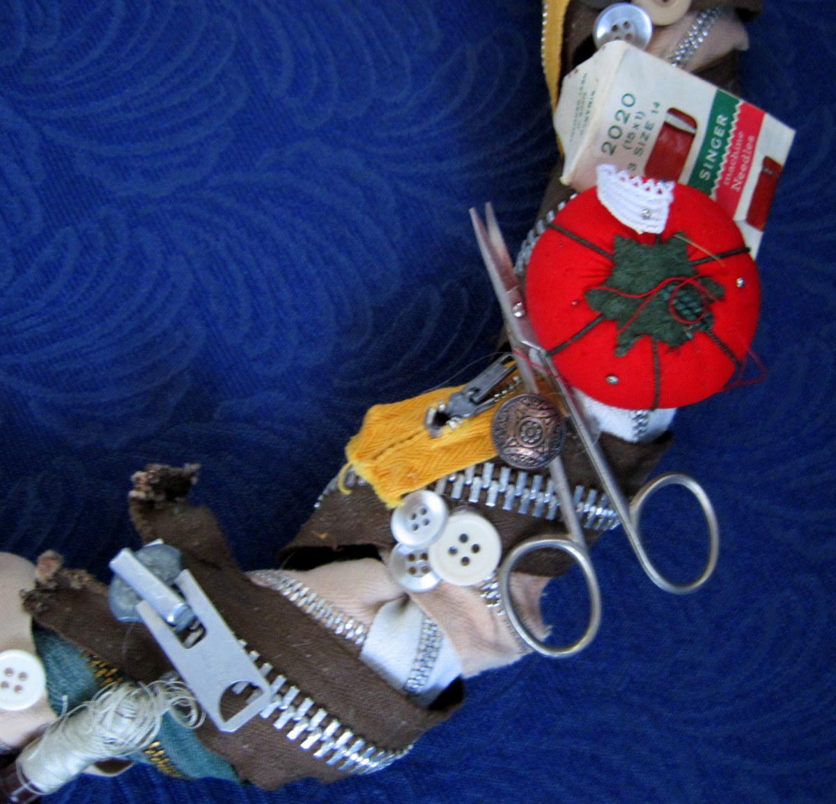 Grandma's Sewing Box Wreath (detail)