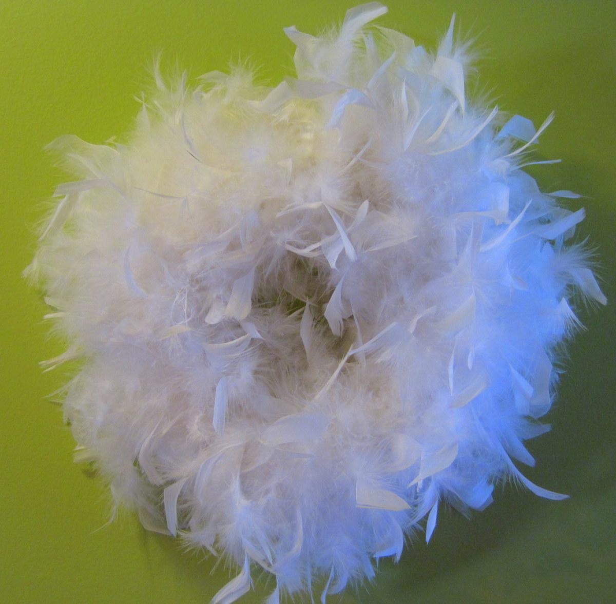 White Feather Boa Wreath