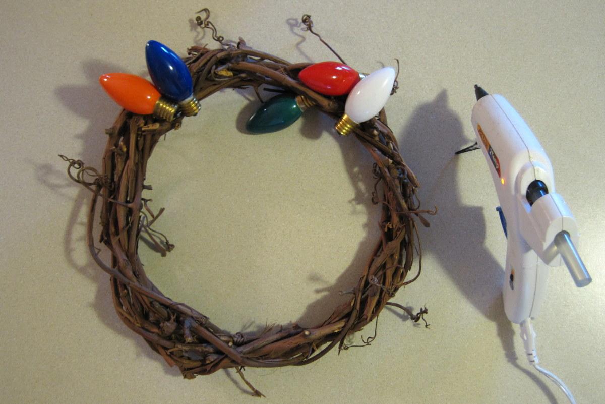 Start of Christmas bulb vine wreath.