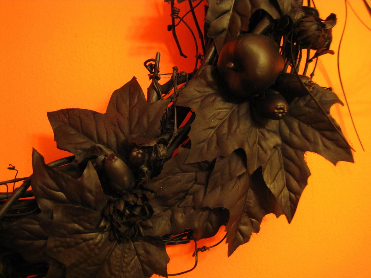 Black Halloween Wreath (detail)