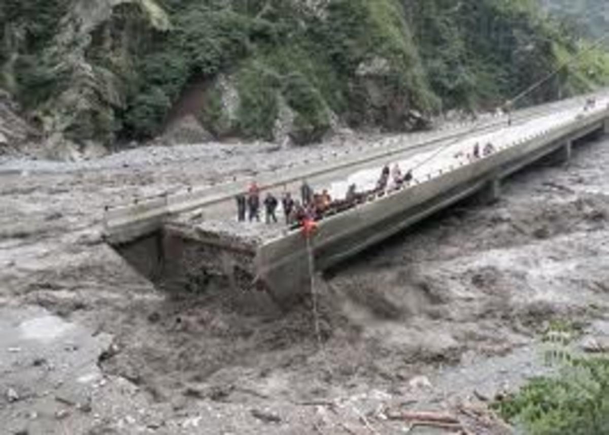 This mudslide Sichuan Province, China cut a bridge in half.