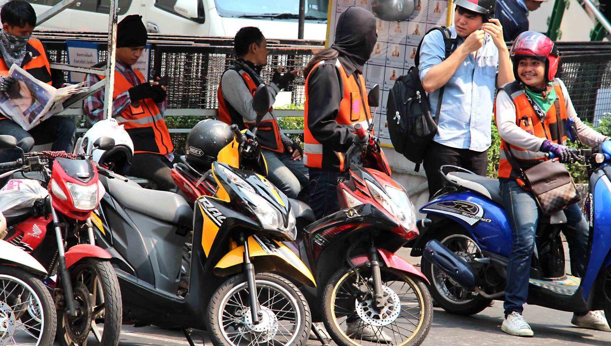 Motorcycle taxi rank near Asok Skytrain Station
