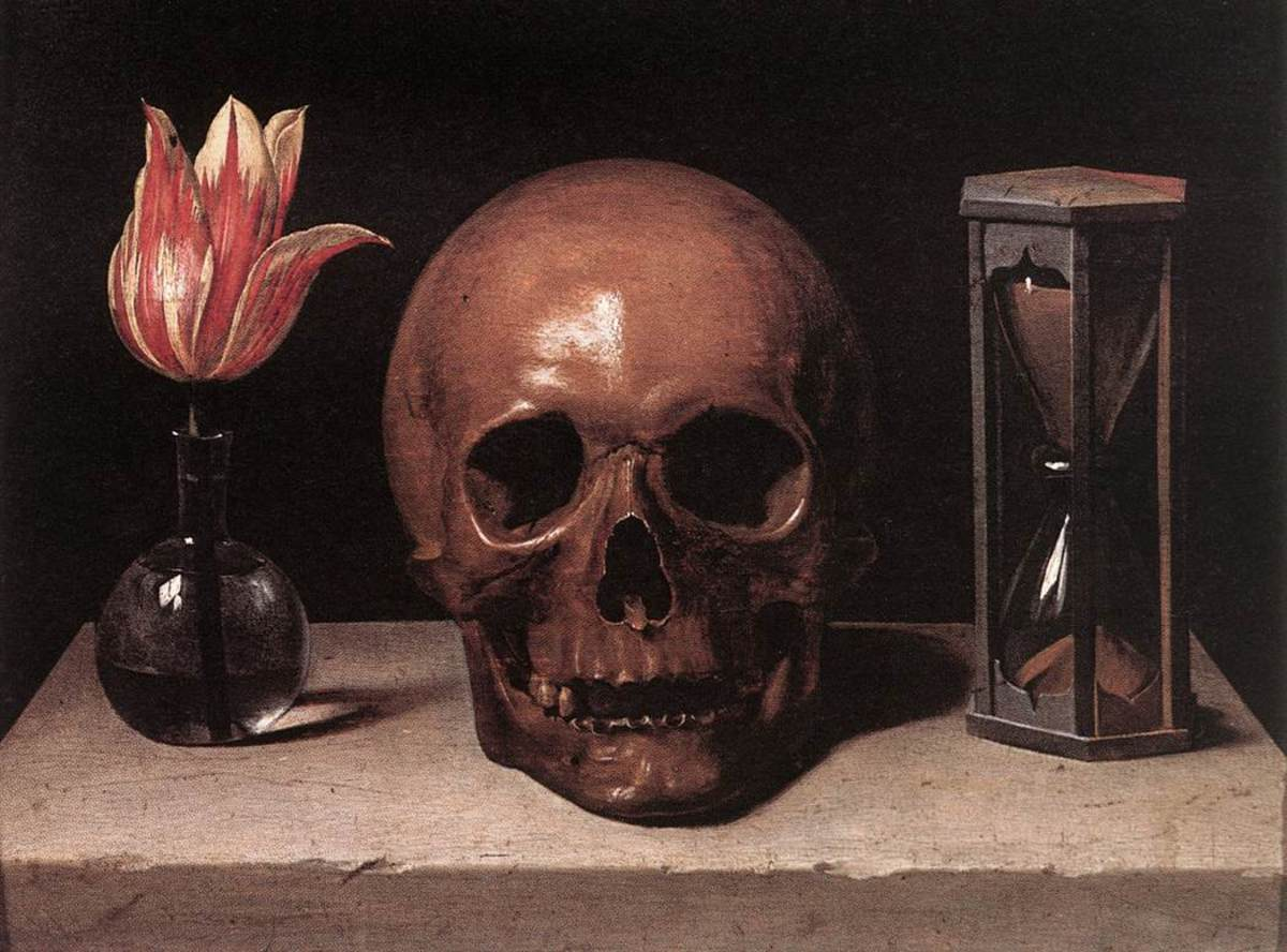 Life, Death and Time -- symbolized by the flower, the skull and the hourglass 18th Century Oil Painting