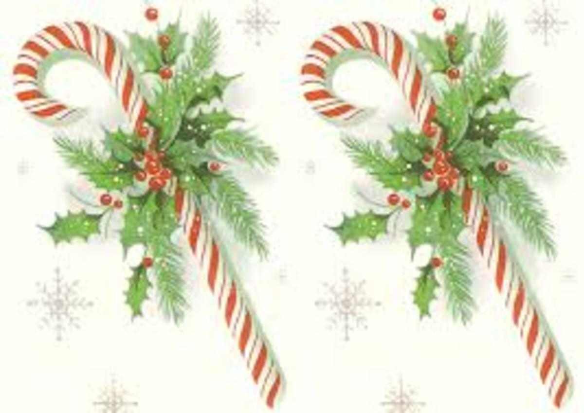 Mistletoe and candy canes can be colourful and festive on a gift