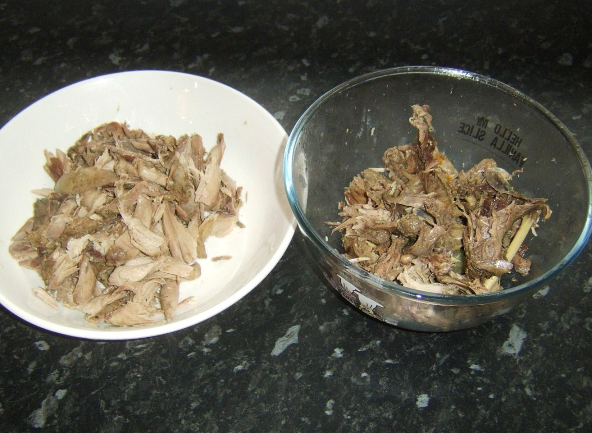 Rabbit and squirrel meat picked from bones