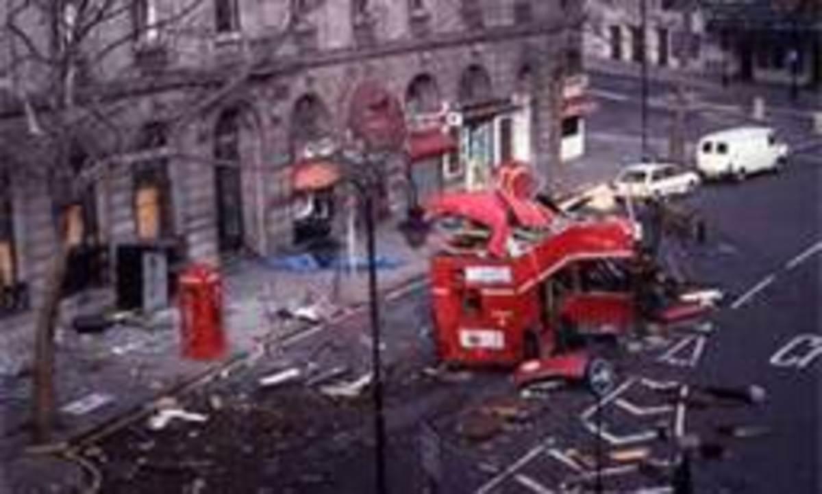 IRA bomb on London bus Feb 1996 three passengers dead