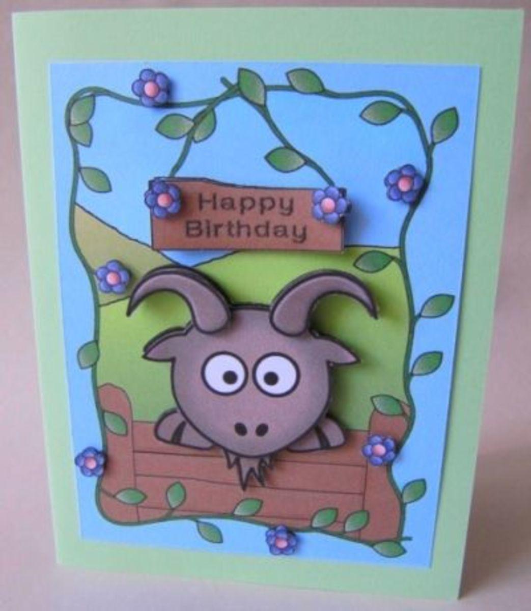 cute goat birthday card